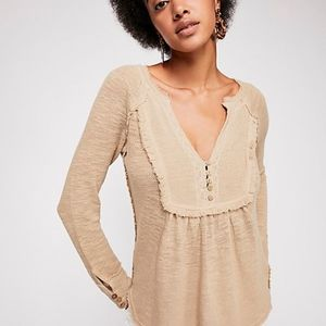 FREE PEOPLE WASHED ASHORE HENLEY THERMAL WAFFLE